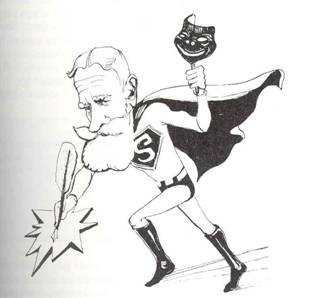 Shaw as SuperMan with pen
